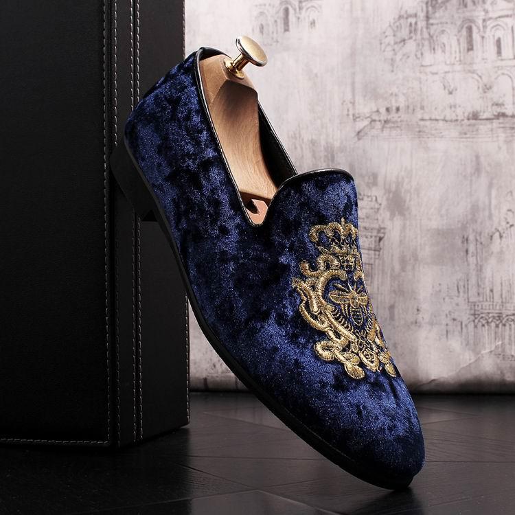 ERRFC 2018 جديد الأزياء إلى الأمام الرجال الأزرق أحذية لوفر مصمم قطيع Emboridered الإمالة حذاء خفيف للرجل الأسود Zapatos-في أحذية رجالية غير رسمية من أحذية على  مجموعة 3