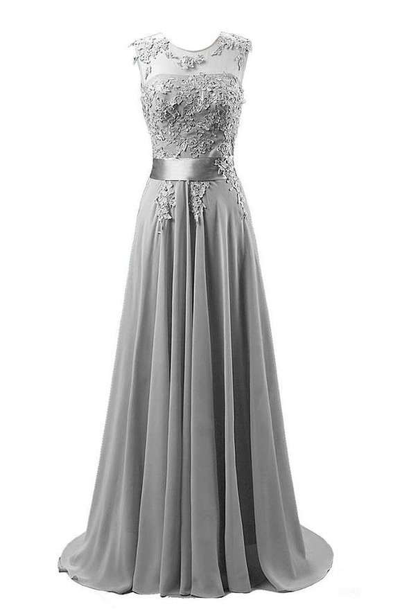 Mdbridal Chiffon Lace Grey Prom Dress Cap Sleeve V Back A