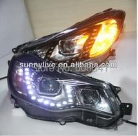 For 2012 2014 Year Subaru XV impreza LED Strip Head Light with Bi Xenon Projector Lens PW