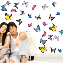 Free shipping 9 pcs small Butterfly wall decor Removable Decals Decoration wall stickers