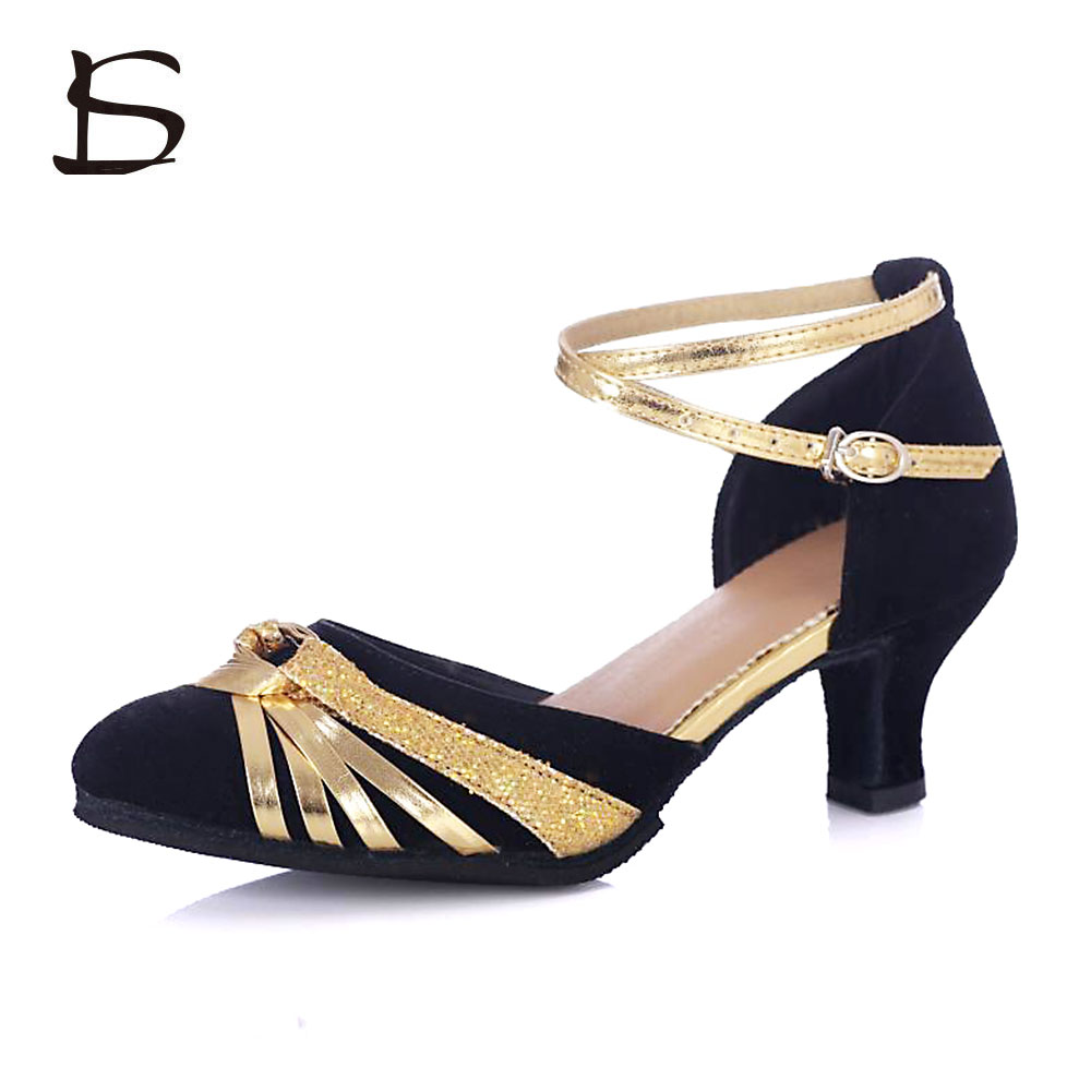 Women Dancing Shoes Ballroom Tango Latin Dance Shoes For Girls/Ladies Salsa Party Shoes 4 Color 5CM Heels Suede Sole Latin Shoes