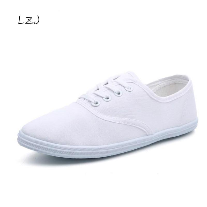 LZJ New 2017 Women Canvas Shoes Breathable Fashion Brand Women Flat Shoes Woman Sneakers White Shoes Plus Size 35-42 XH15