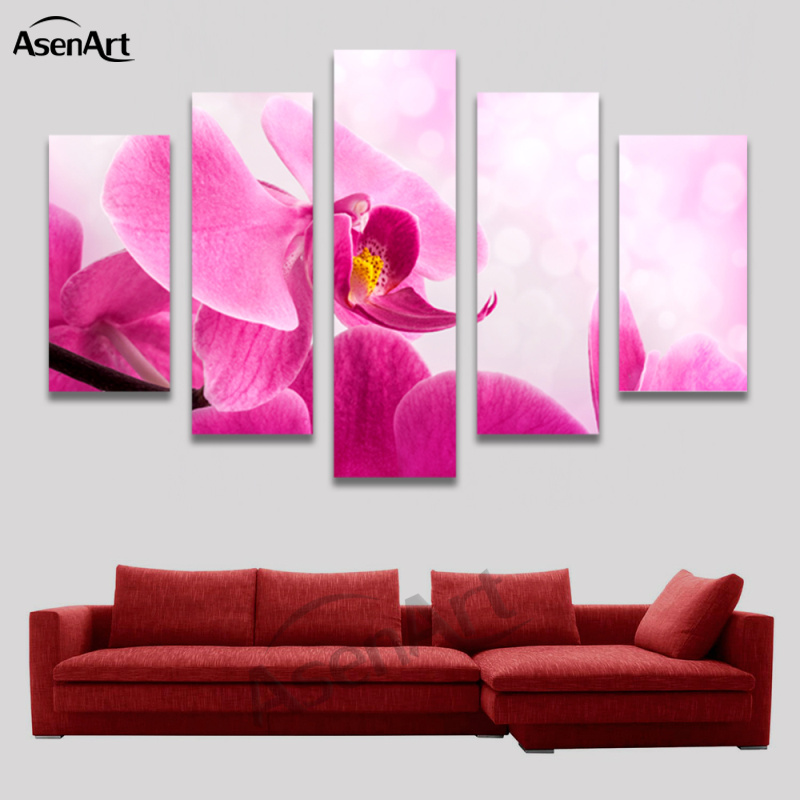 5 Panel Wall Art Phalaenopsis Pink Flower Painting for Living Room ...