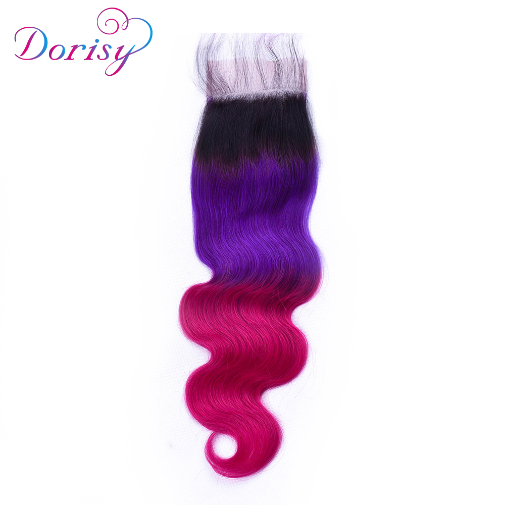 Dorisy Hair 3 Bundles Brazilian Body Wave With Closure 4*4 Free Part 4pcs/lot Non Remy Human Hair Extension Ombre 1b purple red