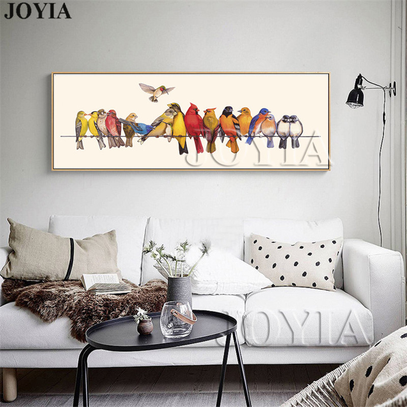 US $4.26 46% OFF|Modern Living Room Wall Decor Bird Painting Colorful Birds  On The Wire Prints Picture For Bedroom Bedside Canvas Art No Frame-in ...