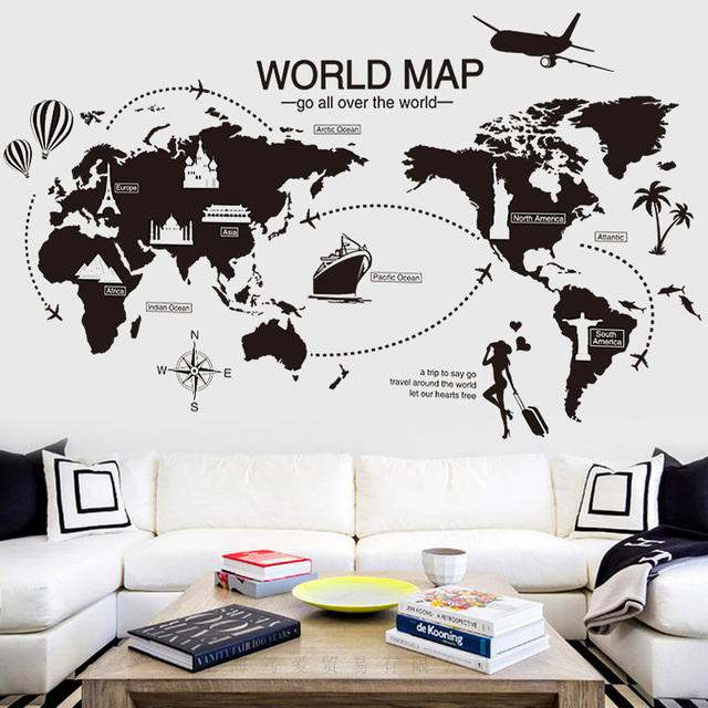black world map wall sticker vinyl diy world travel landmarks wall