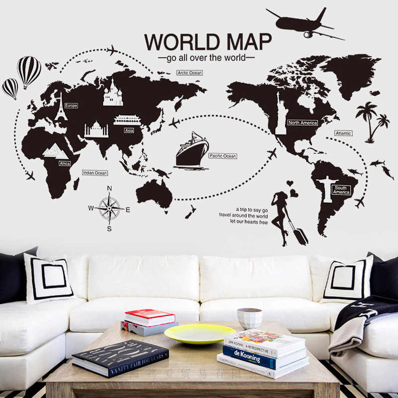 Black World Map Wall Sticker Vinyl DIY World Travel landmarks wall decals  for Living room Bedroom study wall decoration sticker