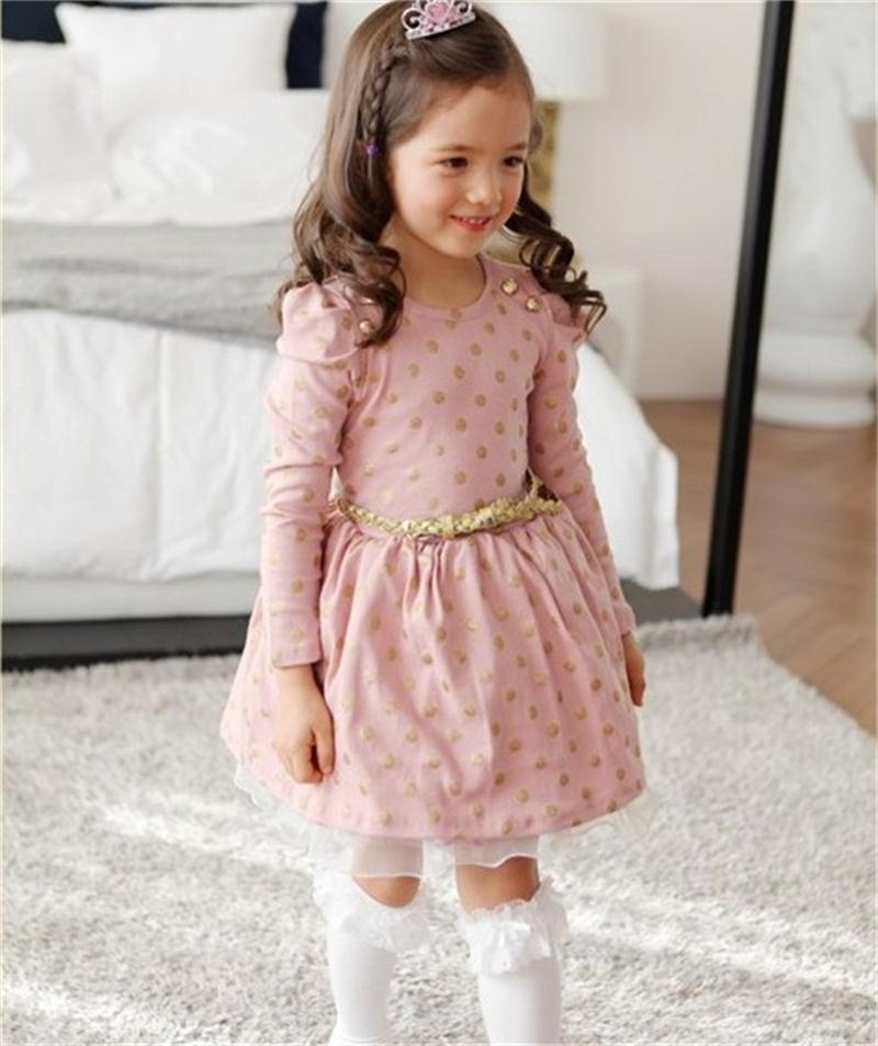 Hot 2018 Winter Autumn Baby Girl Boutique Dress Gold Polka