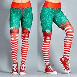 2018 New Hot Christmas Printed Leggings Sexy Clubwear Skinny Slim Red Striped Bow Women Leggings 4