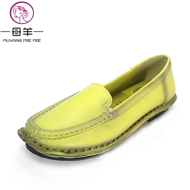 MUYANG 2017 Fashion Women Flats Handmade Genuine Leather Flat Women Shoes Woman Soft Comfortable Casual Work Shoes Women Loafers muyang women flats 2018 genuine leather ballet flats female casual flat shoes women loafers soft comfortable women shoes