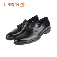 GRIMENTIN italian mens shoes slip on genuine leather brown tassel business shoes male shoes