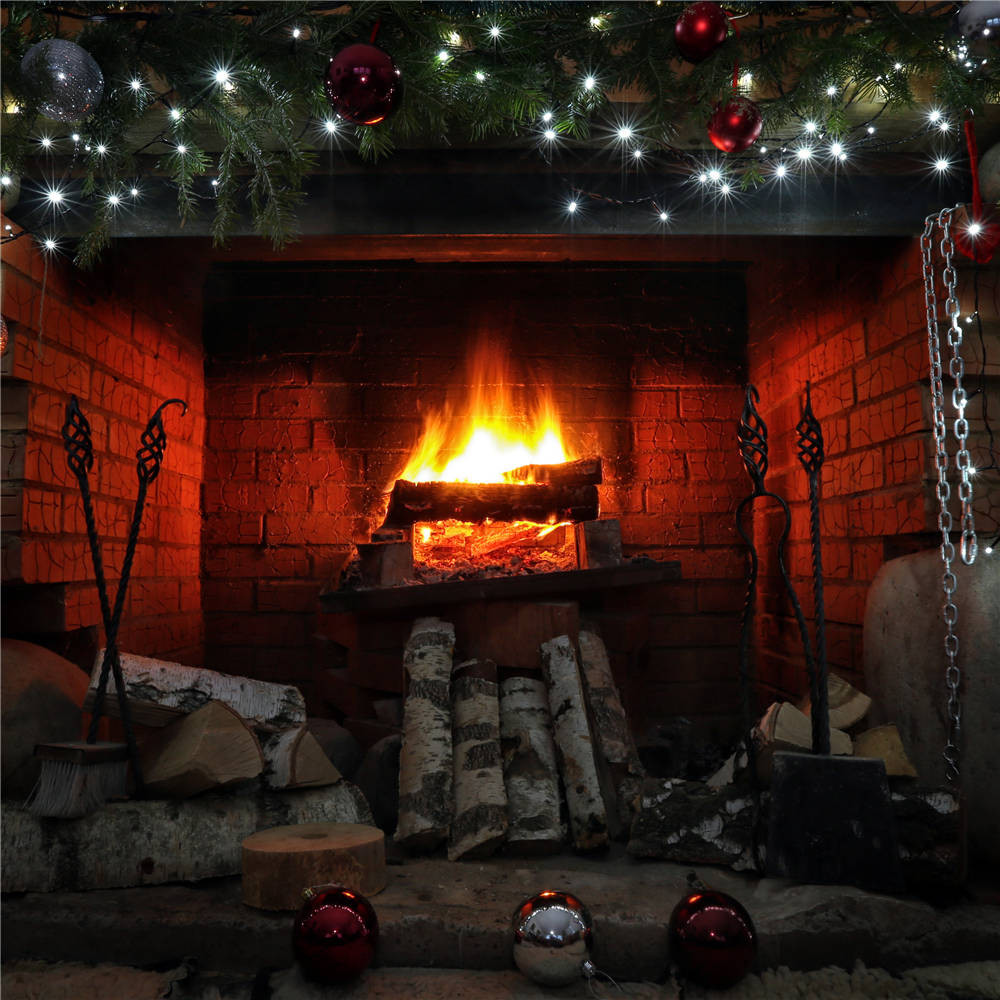 Vinyl Fireplace Wood Photo Props Studio Backdrops Children Photography Background 5x5FT Christmas087 sjoloon brick wall photo background photography backdrops fond children photo vinyl achtergronden voor photo studio props 8x8ft