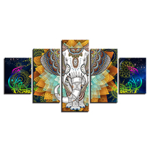 5 pcs,Full Square 5D DIY Diamond Painting India Elephant Abstract Color Flower diamond Embroidery Cross Stitch Rhinestones Y2483