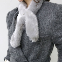 7*90cm Faux Rabbit Fur Collar Solid Winter Scarf Female Handmade Rex Rabbit Fur Scarf Women Winter Fur Wraps Ring Scarvesrs