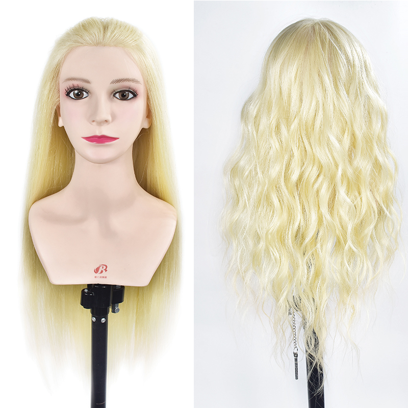 Wholesale Real Human Hair Mannequin Training Head Can Be Curled Wig Head With Human Hair Hairdressing Training Head Dummy Dolls graceful short side bang fluffy natural wavy capless human hair wig for women