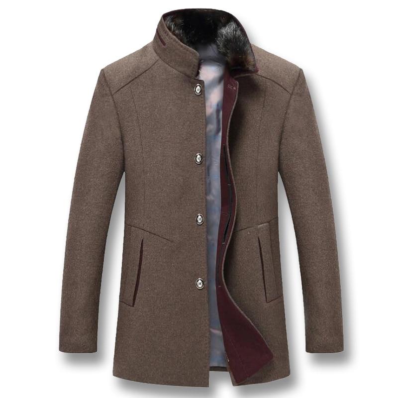 Erkek Kıyafeti'ten Ceketler'de ISurvivor 2019 Erkekler Kış Kalın Yün Ceketler Coats Hombre Erkek Casual Moda Slim Fit Büyük Boy Iş günlük ceketler Hombre'da  Grup 1