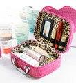 De las mujeres de LA PU de cuero Bolsa de cosméticos bolsa de maquillaje a prueba de agua cuando usted está de viaje de trabajo