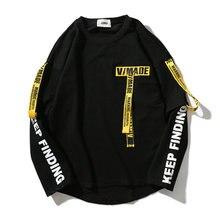 Hip Hop ริบบิ้นเสื้อผู้ชาย 2020 ฤดูใบไม้ผลิใหม่ Pullover Streetwear ฝ้ายเสื้อกันหนาวผู้ชายพิมพ์สีดำ/สีขาว