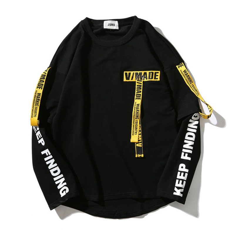 Hip Hop Ribbon Sweatshirts Men 2019 Spring New Pullover Streetwear Cotton Casual Men Sweatshirt Letter Printing Black/White