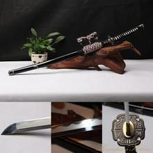High Quality Full Handmade 1095 Carbon Steel Clay Tempered Black Samurai Sword Katana Tachi Sharp Edge