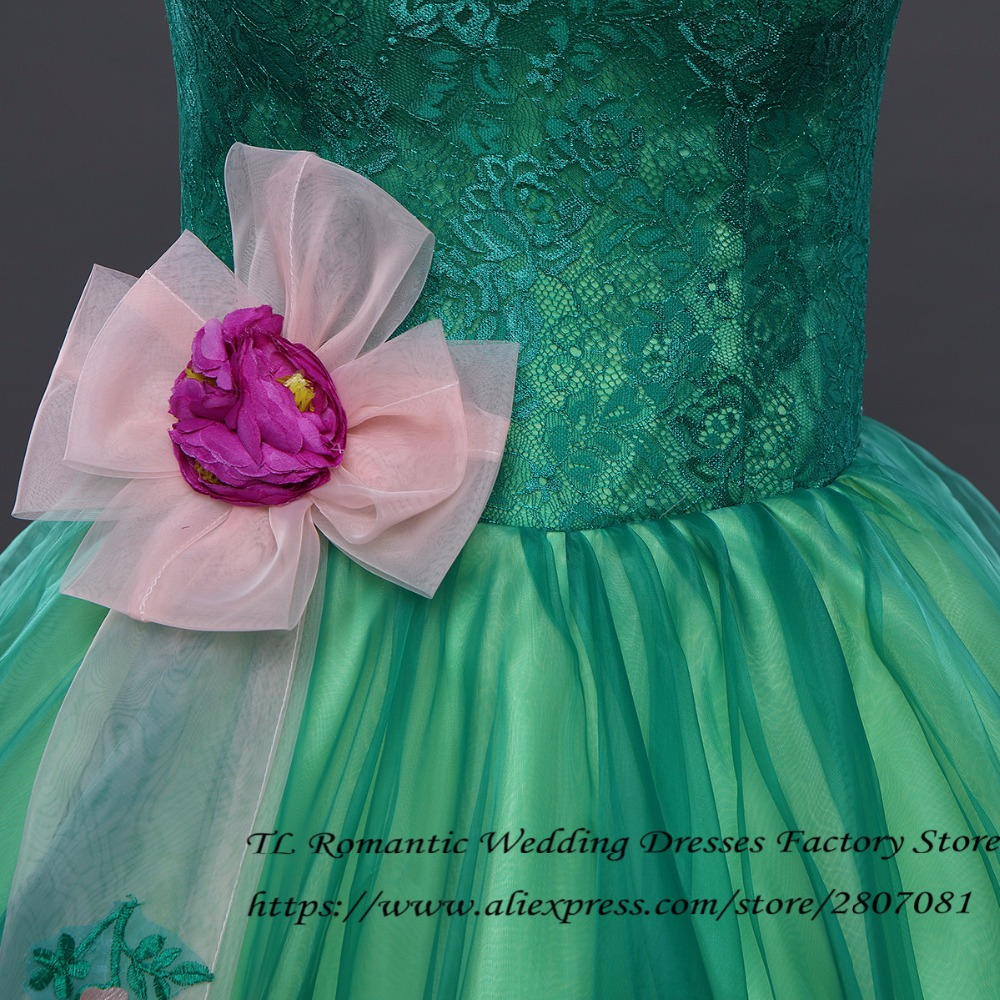 Green Flowers Vintage Short Sleeves Wedding Dresses Princess Floor ...