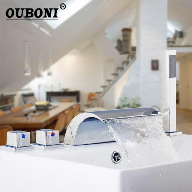 Chrome Finish 5 Pcs Waterfall Gutter Bathroom Bathtub Faucet Single Handle Set / Cover Valve + Handheld Shower Mounted