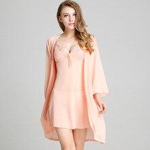 2019 New Arrival Women Robe & Gown Set Soft Chiffon Deep-V Bathrobe + Mini Nightdress 2 Pcs Sleepwear Suit Female Satin Homewear