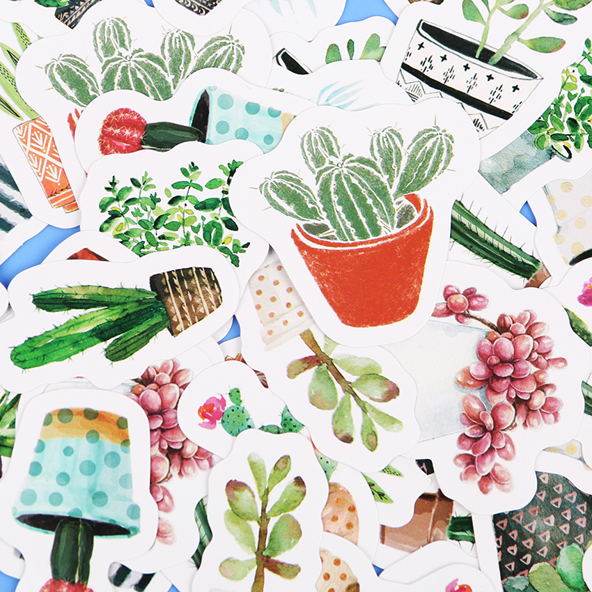 45PCS/set Cultured Green Plants Label Stickers Decorative Stationery Stickers Scrapbooking DIY Diary Album Stick Label fashion leaf pattern decorative front back pvc stickers set for iphone 6 4 7 grass green