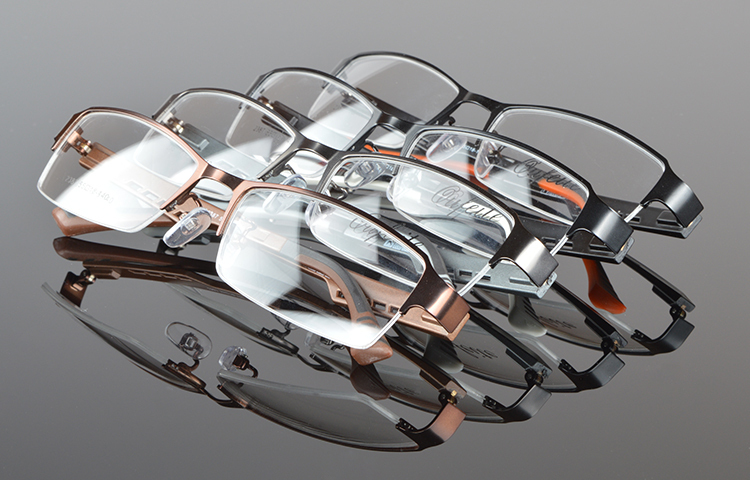 Herrglasögonramar Metall Halvkantfria glasögon Affärsglasögon - Kläder tillbehör - Foto 6