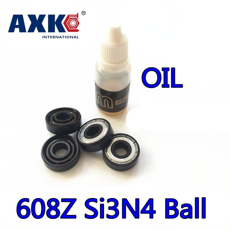 Axk 6 Balls Si3n4 Hybrid Ceramic 608zz 608z 608 Inline Skate Bearing Skateboard Speed Roller Skating Longboard Abec11 8*22*7mm стоимость