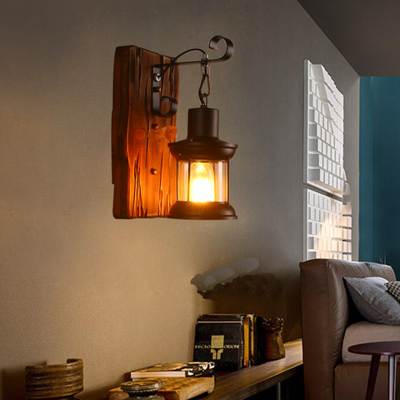 BOCHSBC abat jour en verre lampes murales en bois pour salon café Bar rétro nostalgie idusterie applique personnalité luminaires - 2