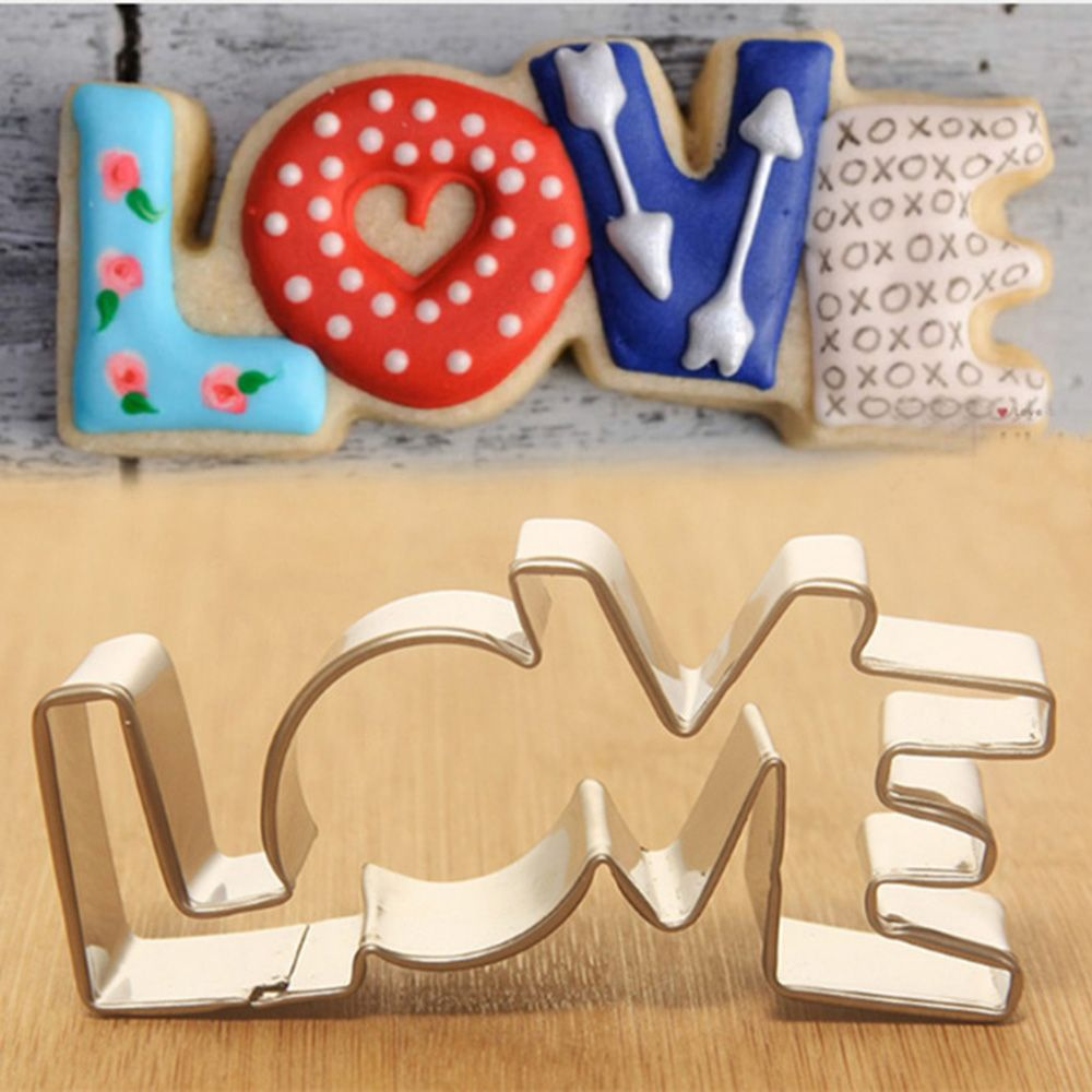 Lover Series Design Stainless Steel Cookie Cutter LOVE Letter Shape Forms For Biscuit Mold Bakeware Pastry Cake Mould Tool
