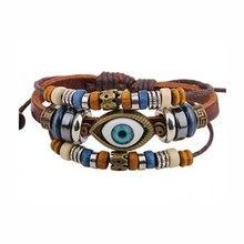 b4ad5c97f44b Punk diseño turco ojo malvado pulseras joyería étnica de la vendimia para  las mujeres hombres bijouterie pulsera femenina Cuero .