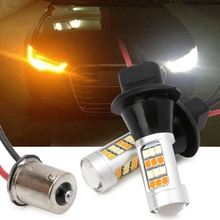 1Pair 42-LED BAU15S 2835 SMD 50W Dual-Color Switchback DRL Turn Signal Light Kit 1xhigh power 1157 5630 20smd dual color type 2 switchback white amber yellow switchback led drl turn signal parking light bulbs