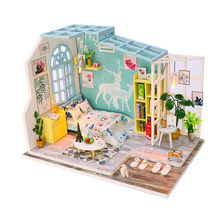 1/24 Miniature DIY Dollhouse Kit with Light Model - Simple Bedroom Kids Gift(China)