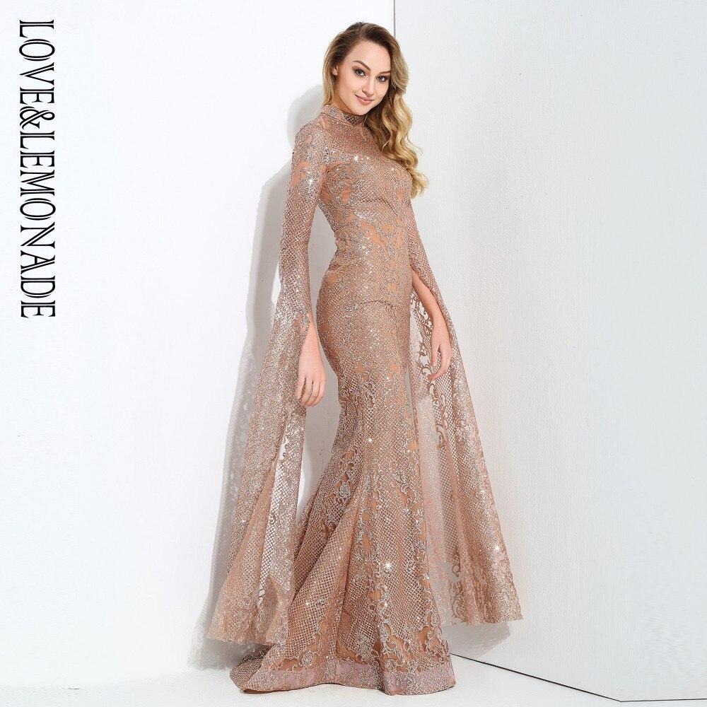 Amor y limón Rosa oro cortado altavoz manga larga geometría Glitter vestido largo glaseado LM0702 Otoño/Invierno-in Vestidos from Ropa de mujer    1
