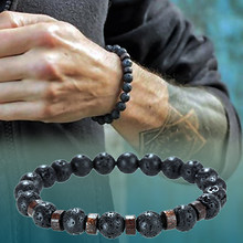 Stone bracelet/men/for women/natural/lava/yoga/bracelet homme luxury crown beads bracelets femme mens jewelry pulseras hombre(China)