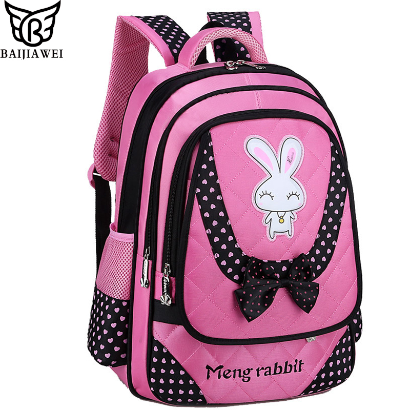 BAIJIAWEI 2017 New Primary School Bags For Children Princess Style Bag Big Capacity Backpacks For Girls