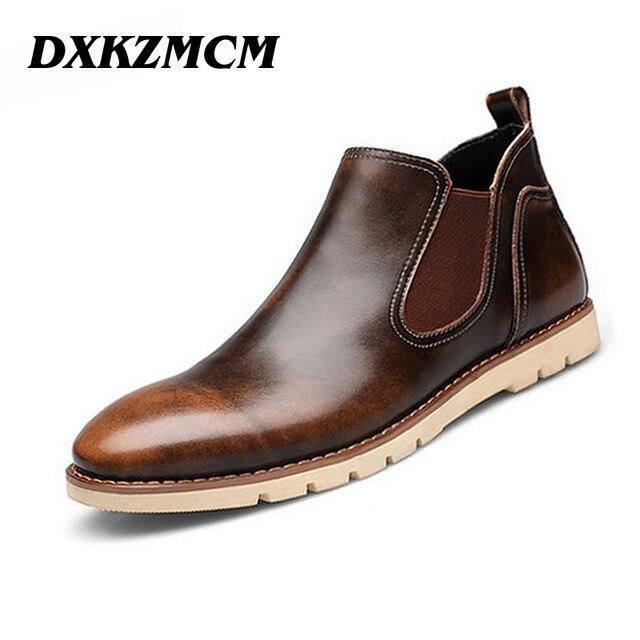 DXKZMCM Ручной Мужчины Сапоги, бренд Мужской Ботильоны, повседневная Натуральная Кожа Дизайн Ковбойские Сапоги, мужская Обувь