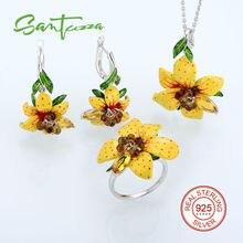 Flower Jewelry Set Enamel Yellow Flower Jewelry Cubic Ziconia Rings Earrings Pendent 925 Sterling Silver Jewelry Set for Women