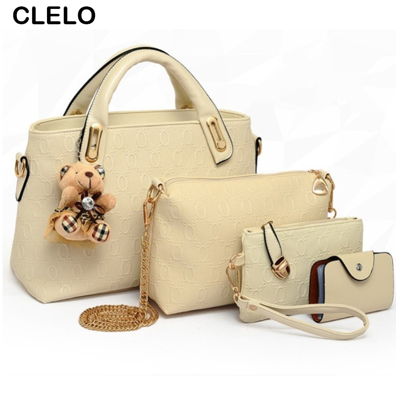 CLELO Woman Bags Fashion Women Messenger Bags PU Famous Brand Composite Bag font b handbag b
