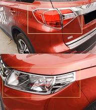 ABS Chrome Vordere Lampenabdeckung Scheinwerferabdeckung Schwarz Rucklicht Abdeckung Trim Fur Suzuki Vitara 2016 2017