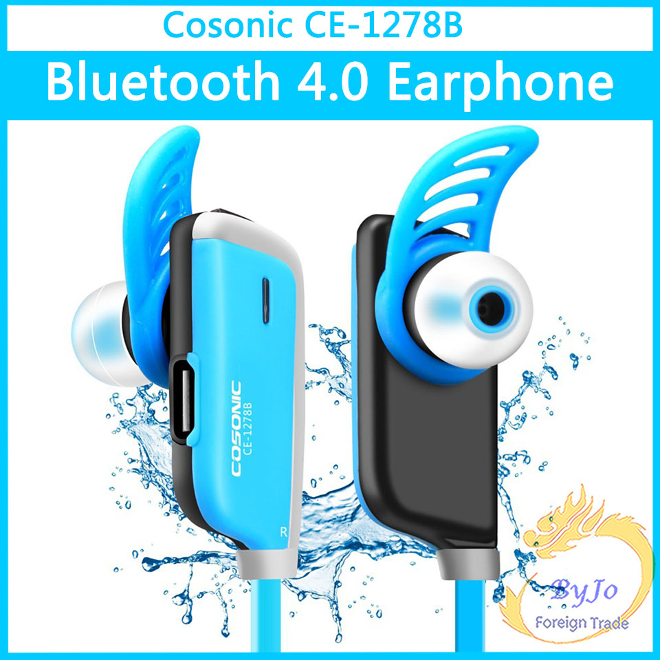 Cosonic CE-1278B Wireless Bluetooth 4.0 Earphone Headphone With Microphone Earbuds For Sport Music blue and black