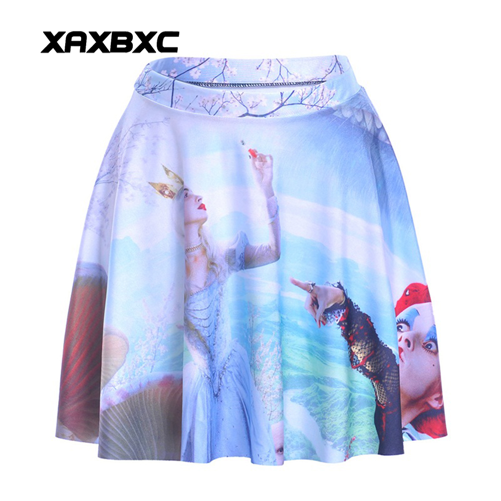 NEW 1089 Summer Sexy Girl Alice in Wonderland Red Queen Printed Cheering Squad Tutu Skater Women Mini Pleated Skirt Plus Size