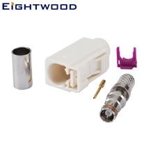 Eightwood автомобильный AM/FM радио Fakra код B разъем белый/9001 Радио с фантомным обжимным адаптером для RG58 LMR195 кабель