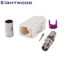 Eightwood 5PCS Car AM/FM Radio Fakra Code B Jack Connector White/9001 Radio with Phantom Crimp Adapter for RG58 LMR195 Cable