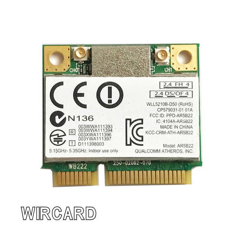Dual Band 300Mbps Wifi AR5B22 Wireless  Half Mini PCI-E WLAN 2.4G/5Ghz Wi-Fi + Bluetooth 4.0 COMBO Lan Network Card