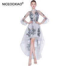 NICEOOXIAO 2018 Embroidered Formal Dress Long Evening Dress Tulle Lace Evening  Party Sexy Evening Dress Abendkleid e95dd1411ad6