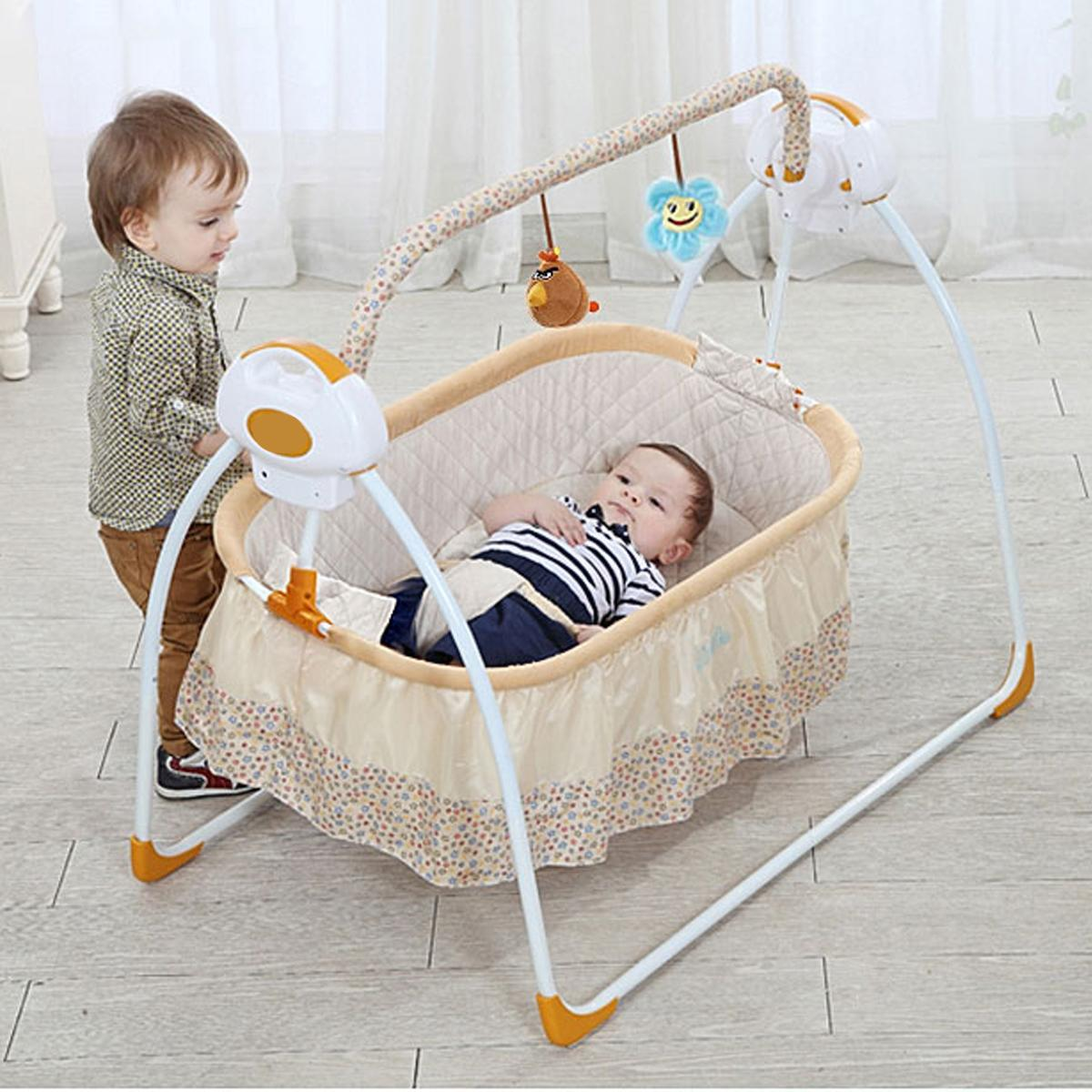 купить Smart Electric Baby Crib Music Cradle Infant Rocker Auto-Swing Sleep Bed Baby Bedding Remote Control по цене 12918.85 рублей