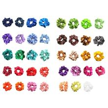 5Pcs/Set Satin Hair Scrunchies Women Bright Candy Color Elastic Ties Rope Assorted Colors Large Intestine Ponytail Holder
